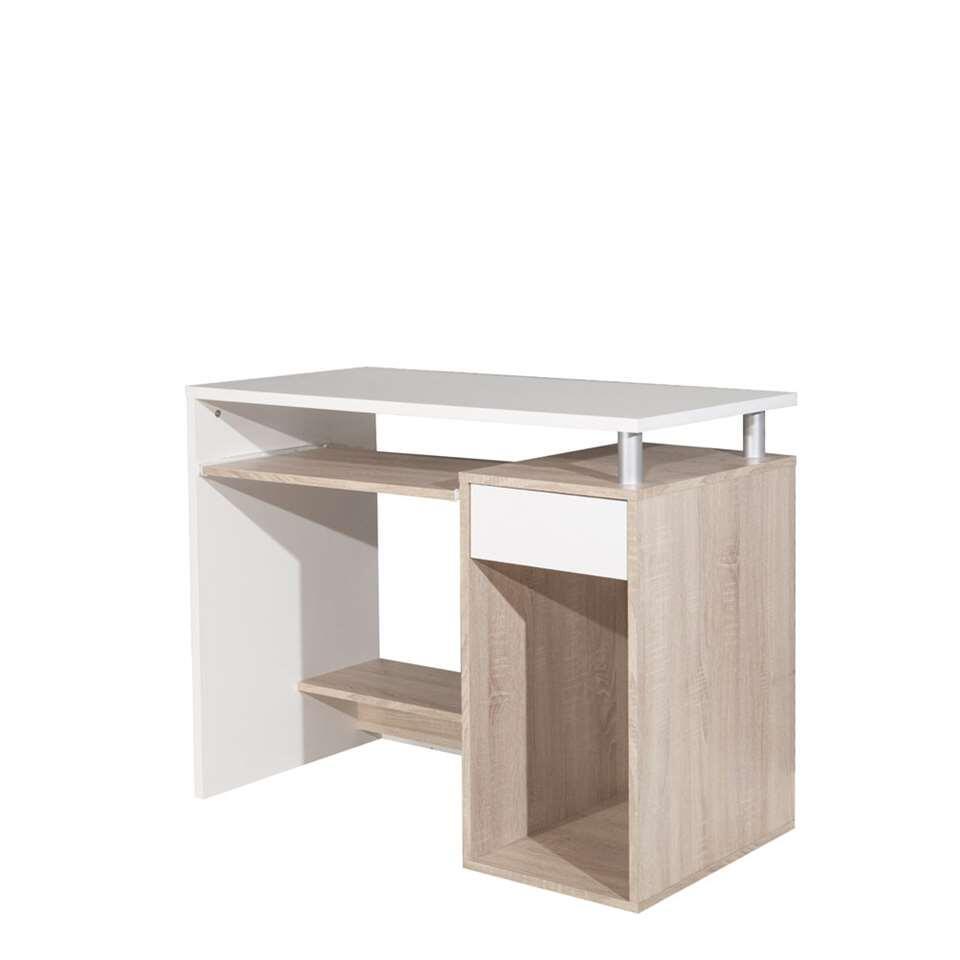 Symbiosis bureau Lesund - wit/eikenkleur - 79,2x99x50 cm - Leen Bakker