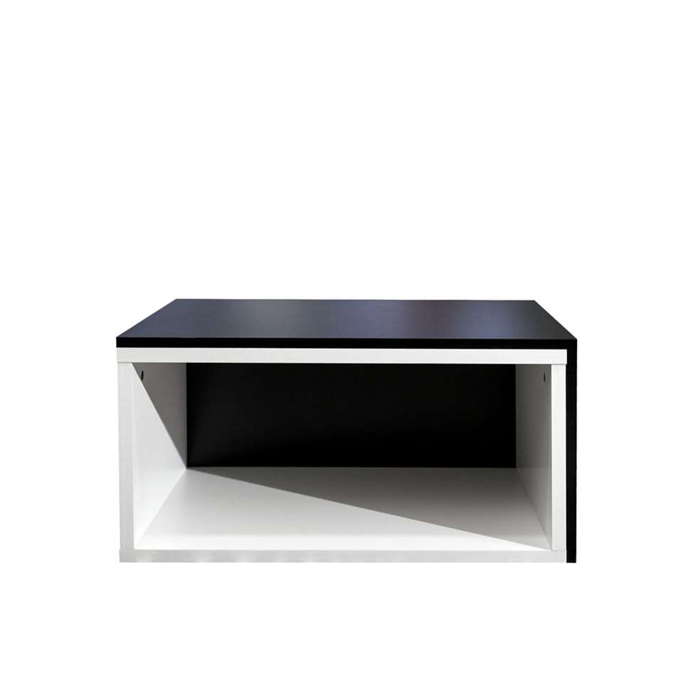 Salontafel Rostoya is in elkaar te schuiven en is wit/zwart van kleur. Een handige tafel voor in kleine ruimtes!