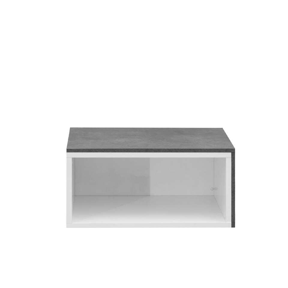 Salontafel Rostoya kan in elkaar geschoven worden en is wit met betongrijs van kleur. Deze tafel is ideaal voor in kleine ruimtes!