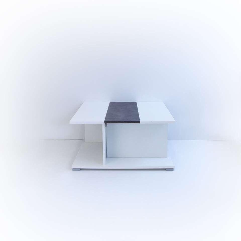 Symbiosis salontafel Forsnes - wit/betongrijs - 37,2x73,6x73,6 cm - Leen Bakker