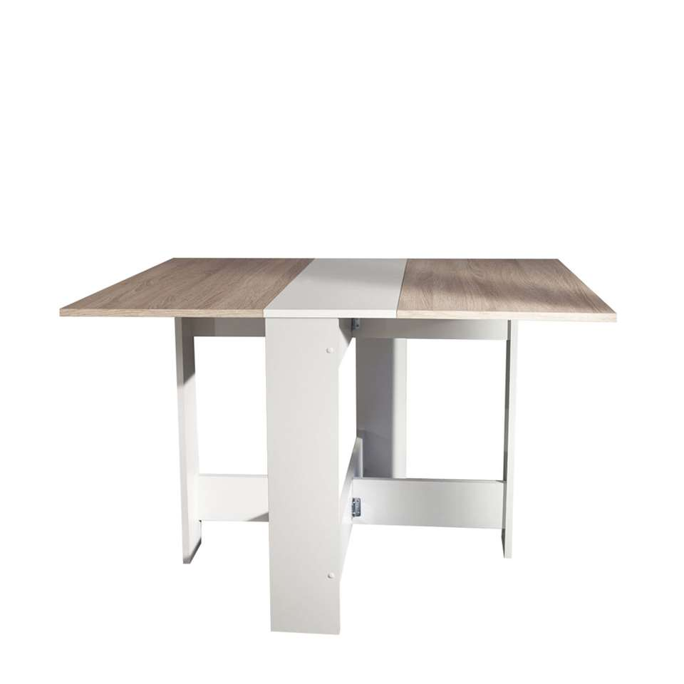 Symbiosis inklapbare tafel Laugen - wit/eikenkleur - 73,4x28x76 cm - Leen Bakker