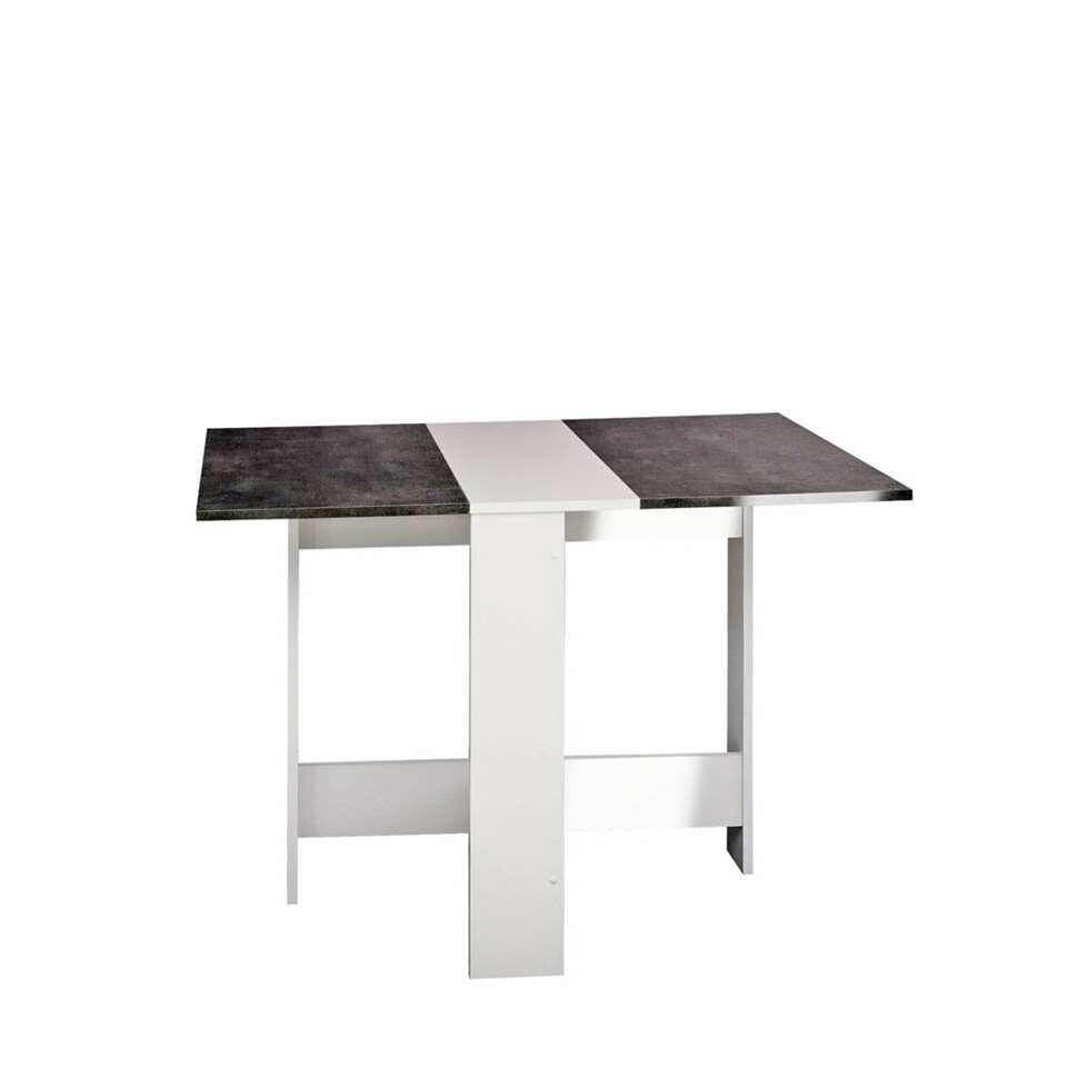 Symbiosis table escamotable Laugen - blanche/gris béton - 73,4x28x76 cm