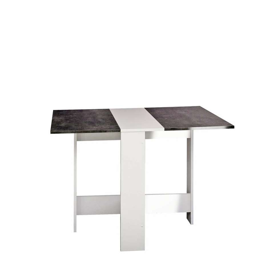 Symbiosis inklapbare tafel laugen wit betongrijs 73 for Inklapbare tafel