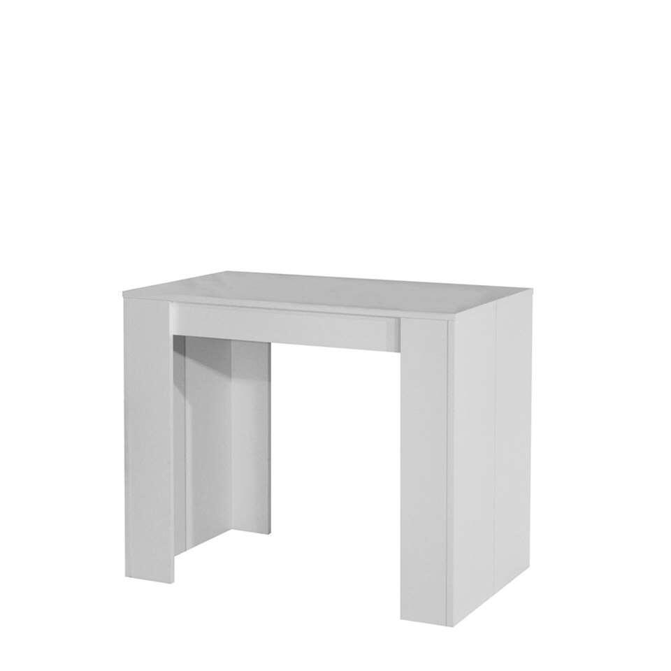 Sidetable Ruste is gemakkelijk uit te breiden tot een eetkamertafel (van 49 cm naar 198 cm) dankzij drie afzonderlijke verlengbladen. Het meubel is gemaakt van spaanplaat in wit.