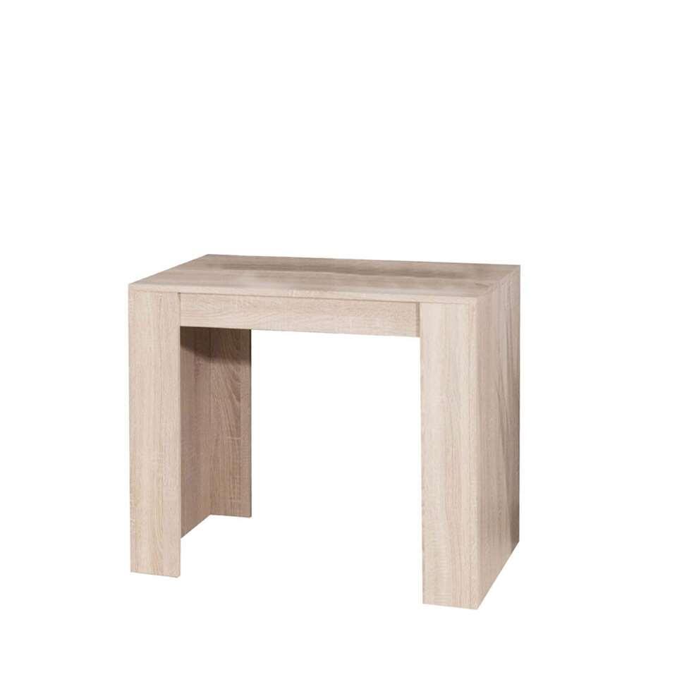 Sidetable Ruste is gemakkelijk uit te breiden tot een eetkamertafel (van 49 cm naar 198 cm) dankzij drie afzonderlijke verlengbladen. Het meubel is gemaakt van spaanplaat in eikenkleur.