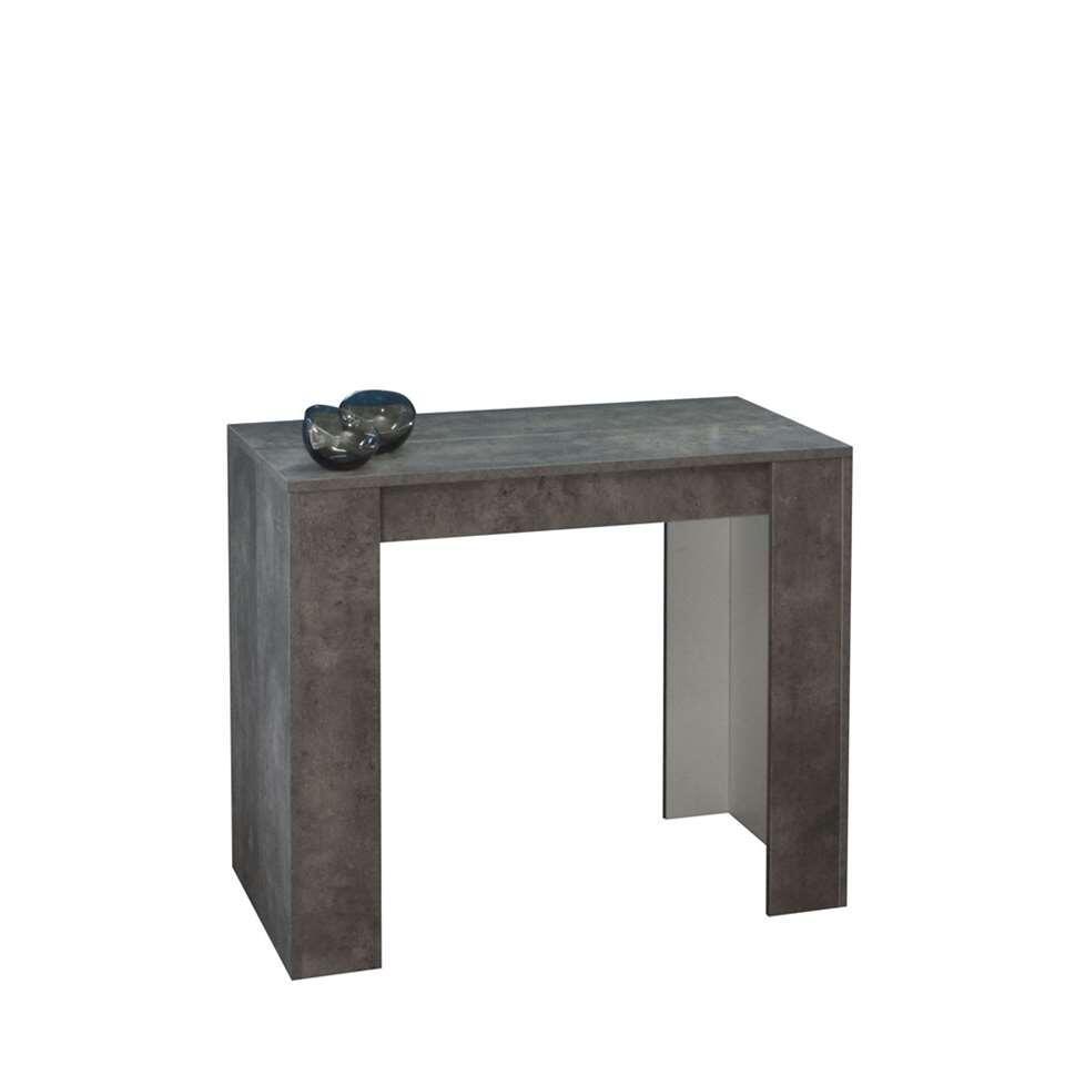 Symbiosis wandtafel/tafel Ruste uitbreidbaar - betongrijs - 74x49-198x91 cm - Leen Bakker