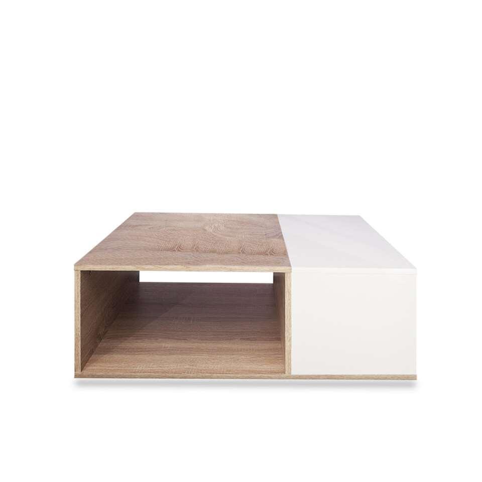 Symbiosis salontafel Krossen - wit/eikenkleur - 34x89x67 cm - Leen Bakker