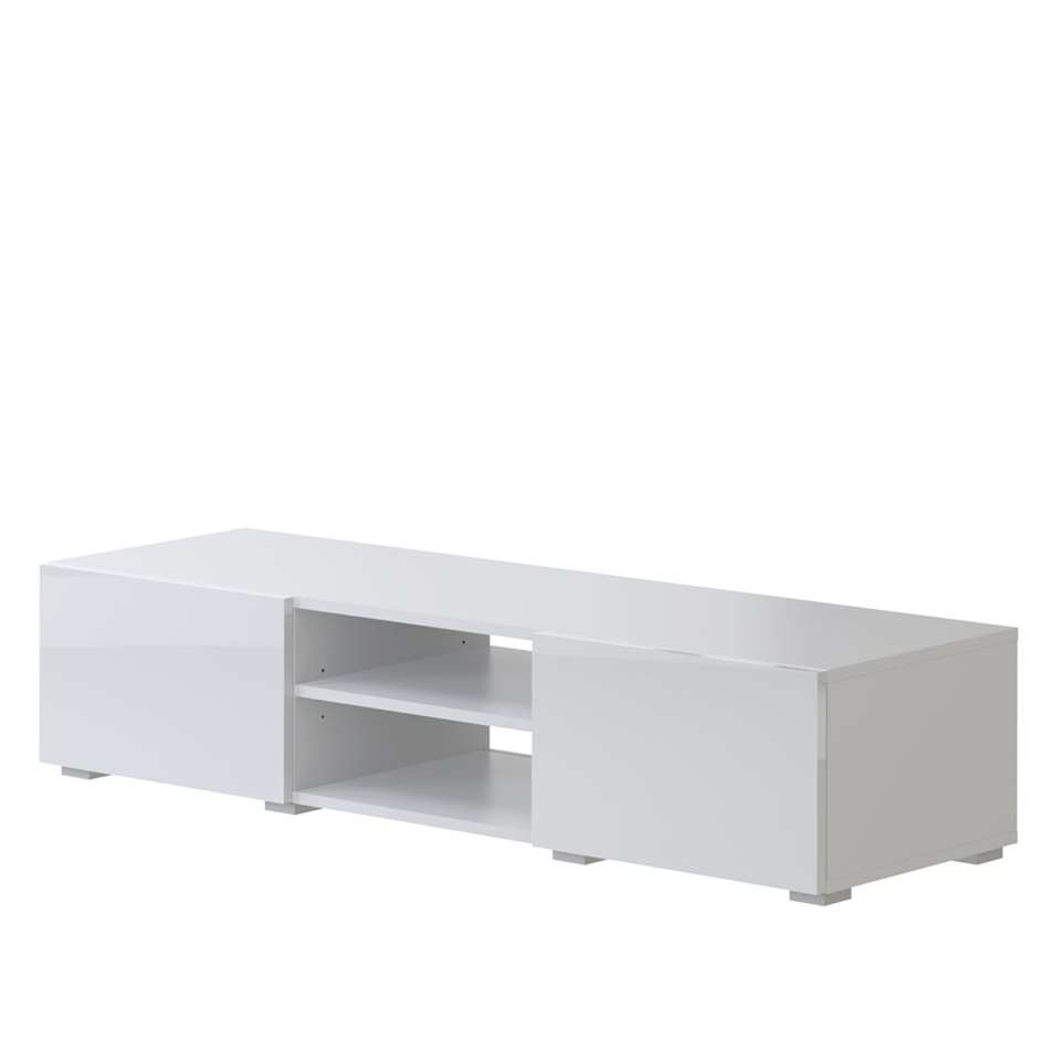 TV-meubel Borhaug is een modern TV-meubel met 2 open vakken en 2 laden. Aan de achterzijde van de open vakken bevindt zich een opening voor eventuele kabels