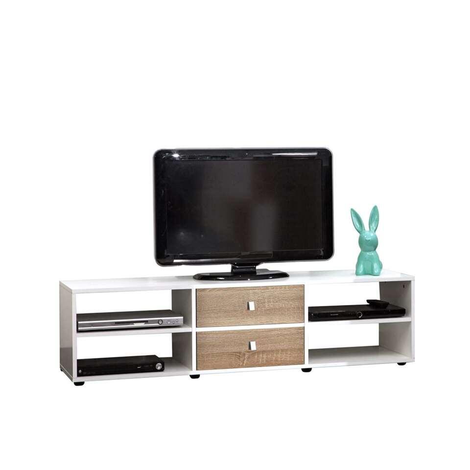 Symbiosis TV-meubel Kviljo – wit/eikenkleur – 37,2×148,5×40 cm – Leen Bakker