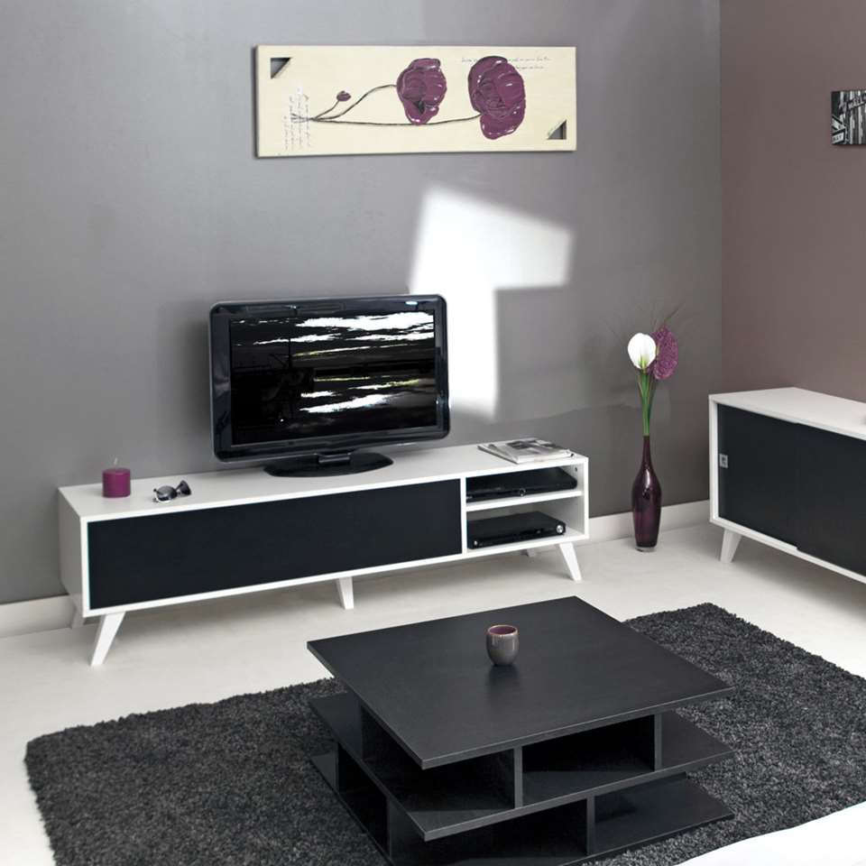 Tv Kast Zwart Wit.Symbiosis Tv Meubel Heidal Wit Zwart 43 2x165x40 Cm