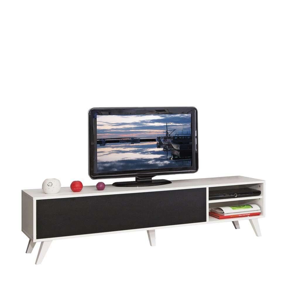 Symbiosis TV-meubel Heidal - wit/zwart - 43,2x165x40 cm - Leen Bakker