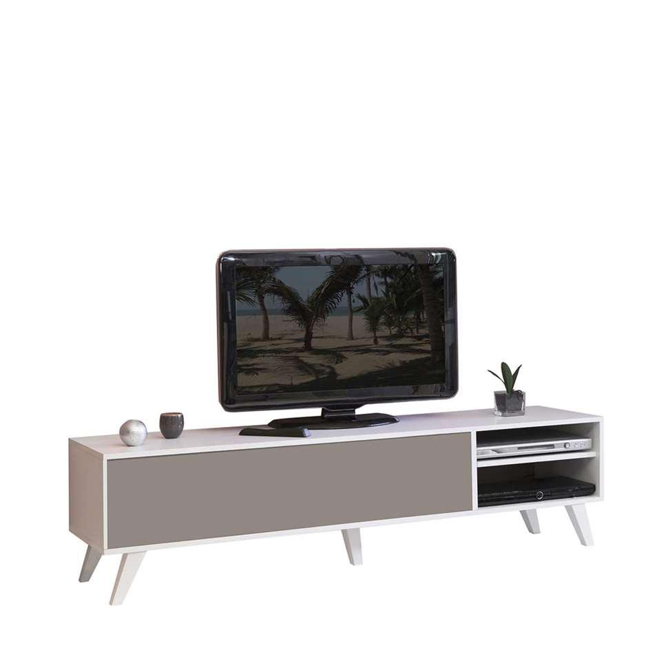 Symbiosis TV-meubel Heidal - wit/taupe - 43.2x165x40 cm