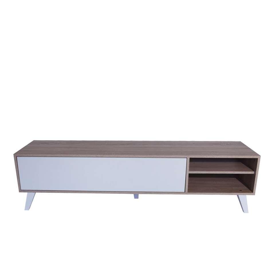 Symbiosis TV-meubel Heidal - eikenkleur/wit - 43,2x165x40 cm - Leen Bakker