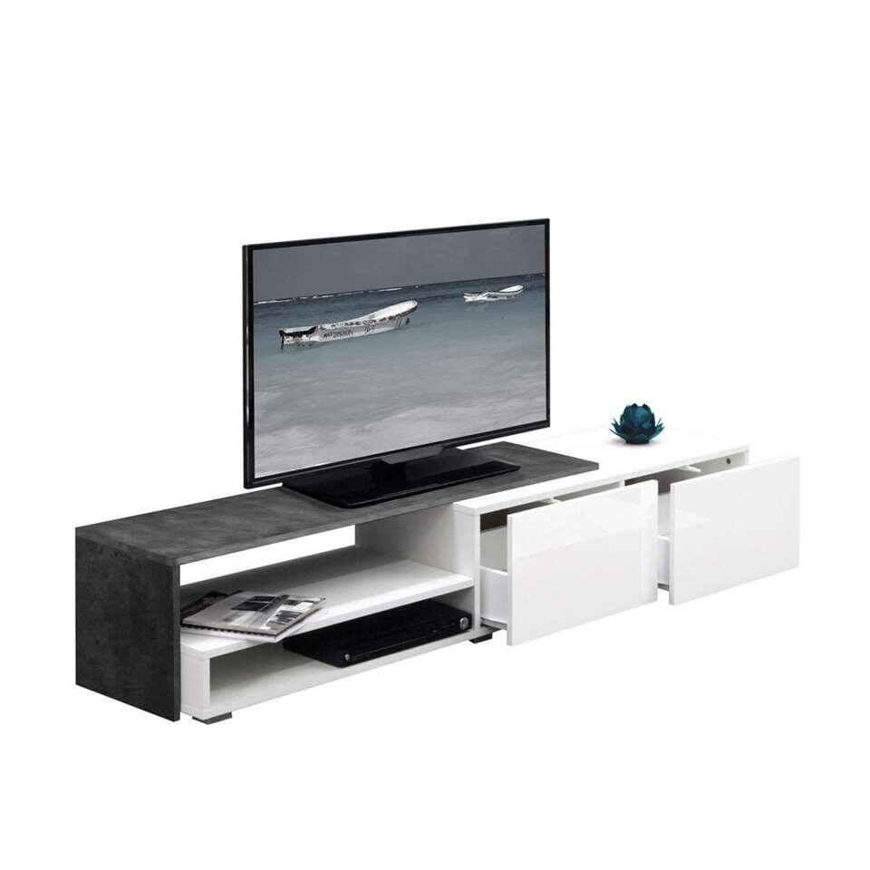 Symbiosis TV-meubel Mosjberg - wit/betongrijs - 32x168x42 cm - Leen Bakker