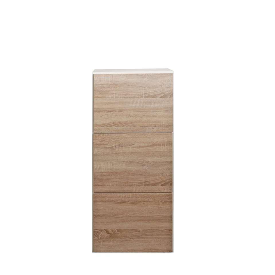 Symbiosis schoenenkast Narup - wit/eikenkleur - 118,7x50x33,1 cm - Leen Bakker