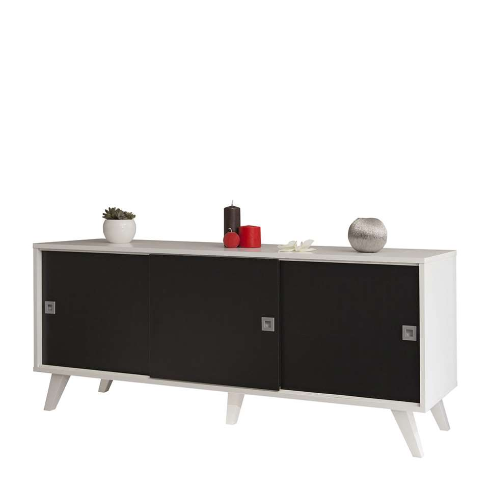 Symbiosis dressoir Hesselager - wit/zwart - 61,8x149x40 cm - Leen Bakker
