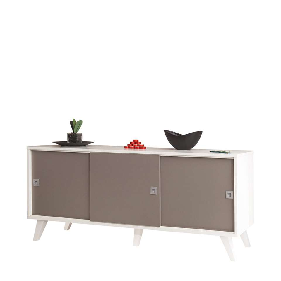 Symbiosis dressoir Hesselager - wit/taupe - 61,8x149x40 cm