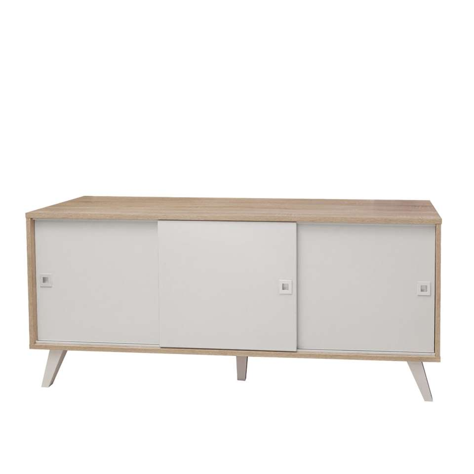 Symbiosis dressoir Hesselager - eikenkleur/wit - 61,8x149x40 cm - Leen Bakker