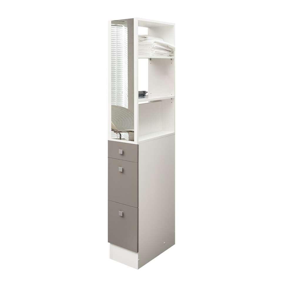 Badkamerkastdivider Munkebo  is wit met taupe en perfect om de badkamer op te delen. Deze divider heeft 2 opbergruimtes, 4 plankjes en 3 lades.
