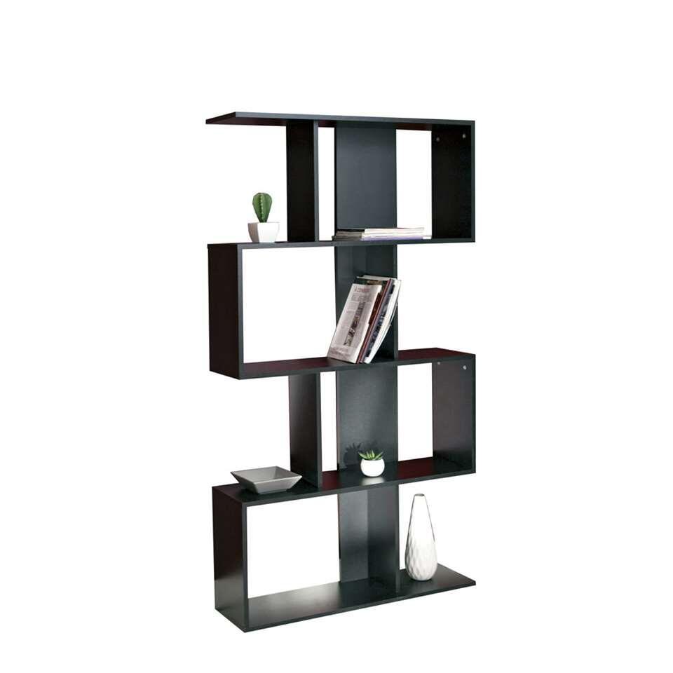 Symbiosis boekenkast Eidal - zwart - 165x89x25 cm - Leen Bakker