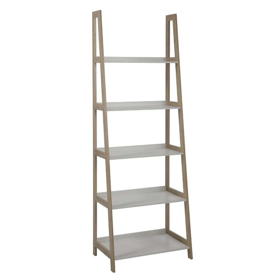 Boekenkast Edsele - wit/hout - 180x62,5x40 cm