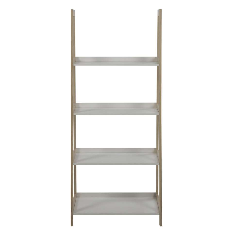 Boekenkast Edsele - wit/hout - 130x63x40 cm - Leen Bakker