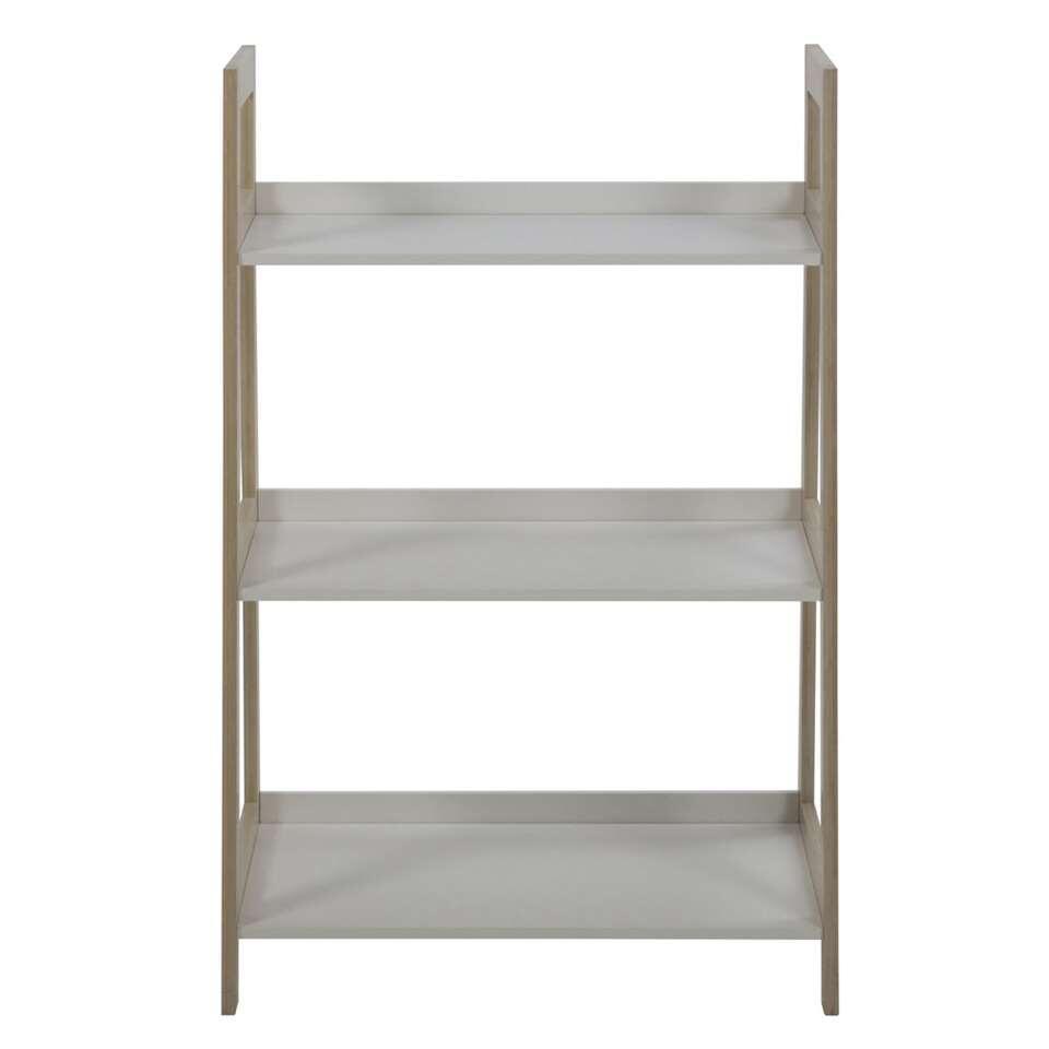 Boekenkast Edsele - wit/hout - 95x62,5x40 cm - Leen Bakker