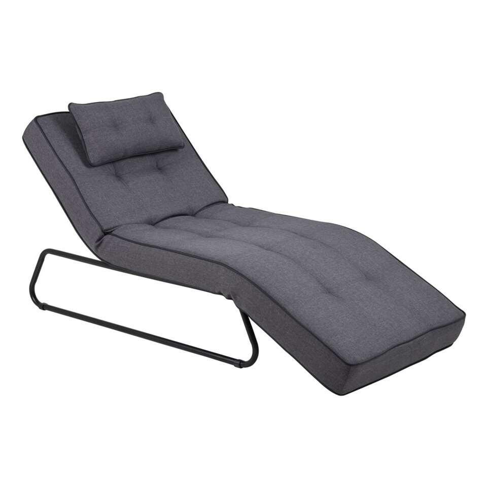 Chaise longue Gavik - stof - grijs - Leen Bakker