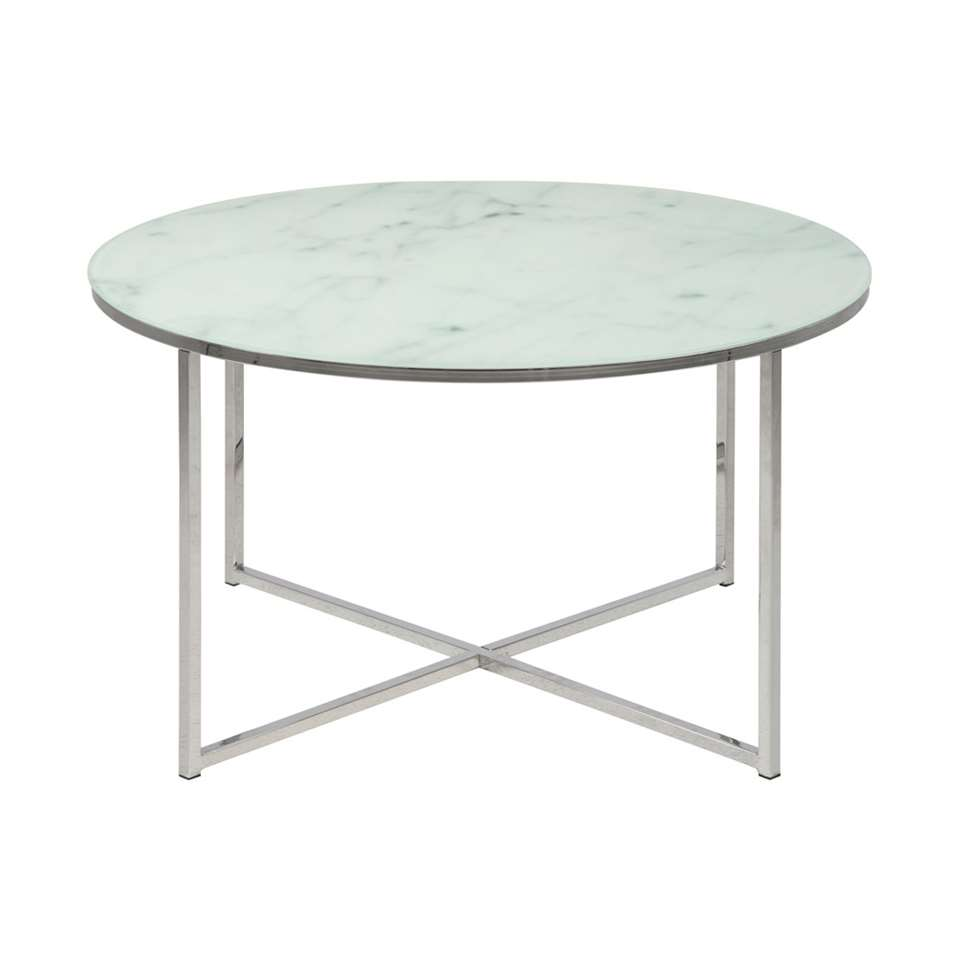 Salontafel Ostana - wit/zilver - Ø80x45 cm - Leen Bakker