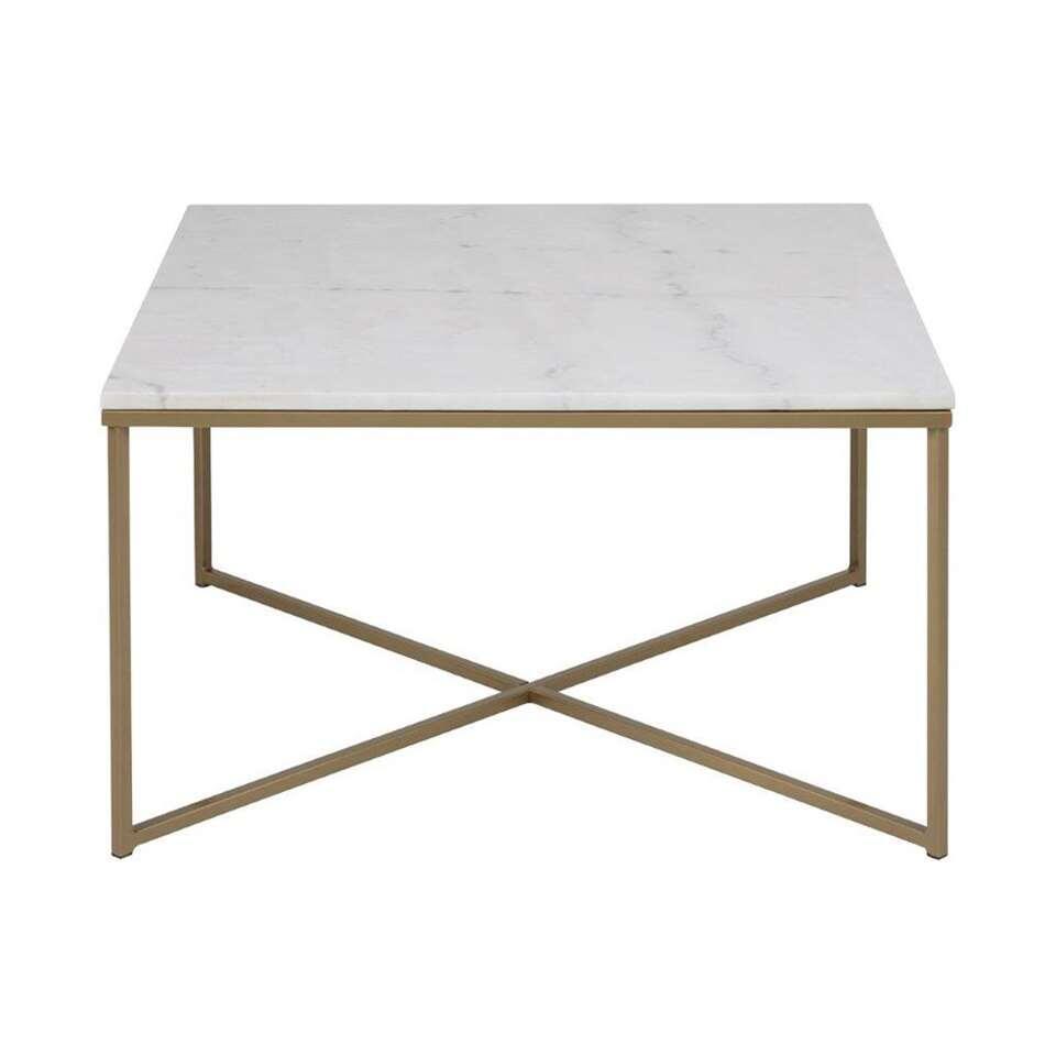 Table de salon Ostana - blanche/couleur bronze - 80x80x46 cm
