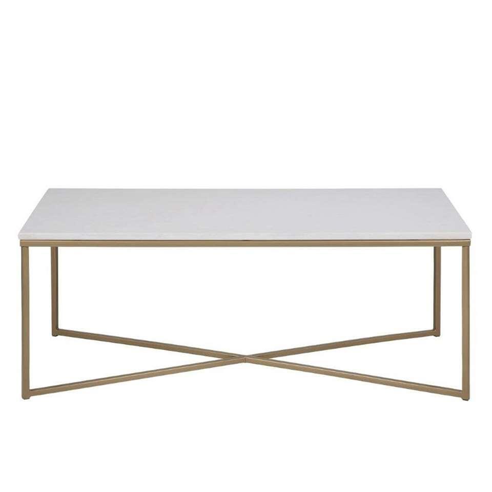 Salontafel Ostana - wit/brons - 120x60 cm - Leen Bakker