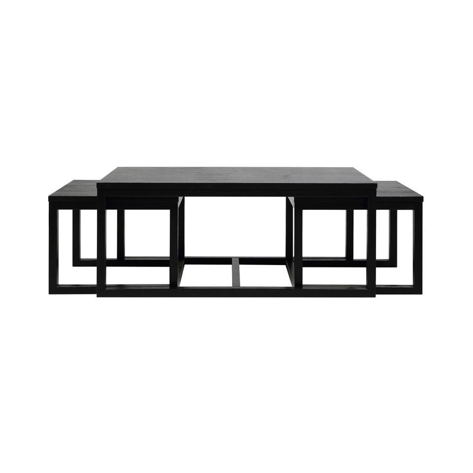 Salontafelset Hanestad (3 stuks) - zwart eikenkleur