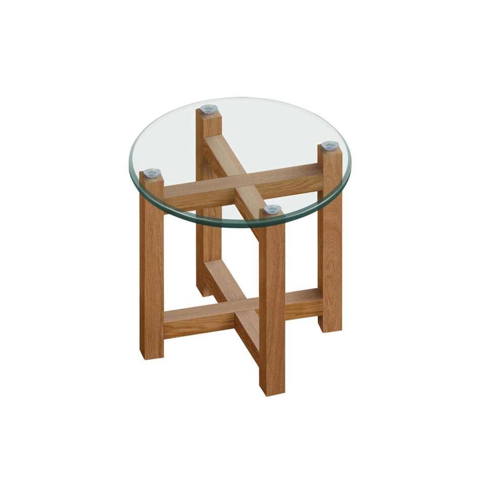 Bijzettafel Olen - glas/hout - Ø50x50 cm - Leen Bakker