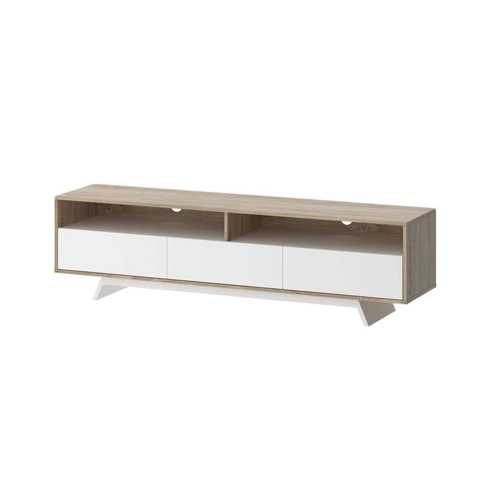 TV-meubel Uldum - wit/eikenkleur - 40,3x172,6x45,9 cm - Leen Bakker