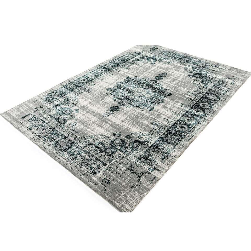 Home Living vloerkleed Classic - antraciet/blauw - 125x200 cm - Leen Bakker