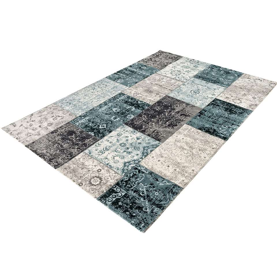 Home Living vloerkleed Retro - antraciet/blauw - 155x230 cm - Leen Bakker