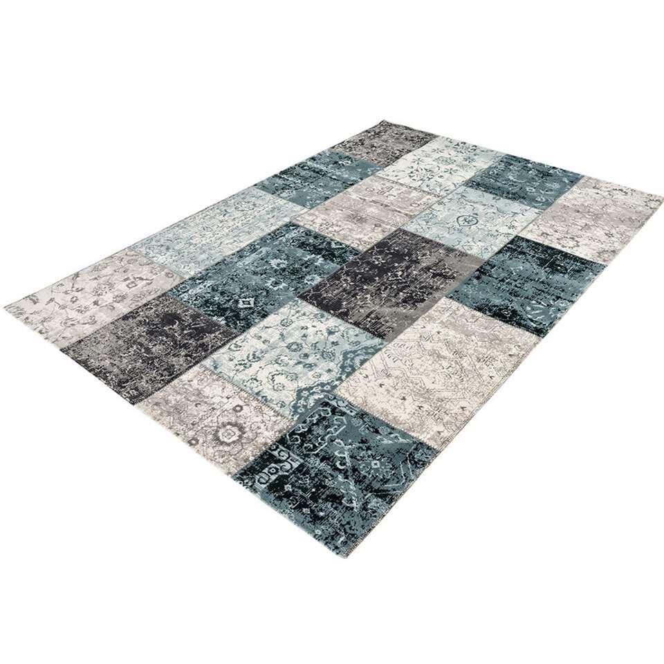 Home Living vloerkleed Retro - antraciet/blauw - 75x150 cm - Leen Bakker