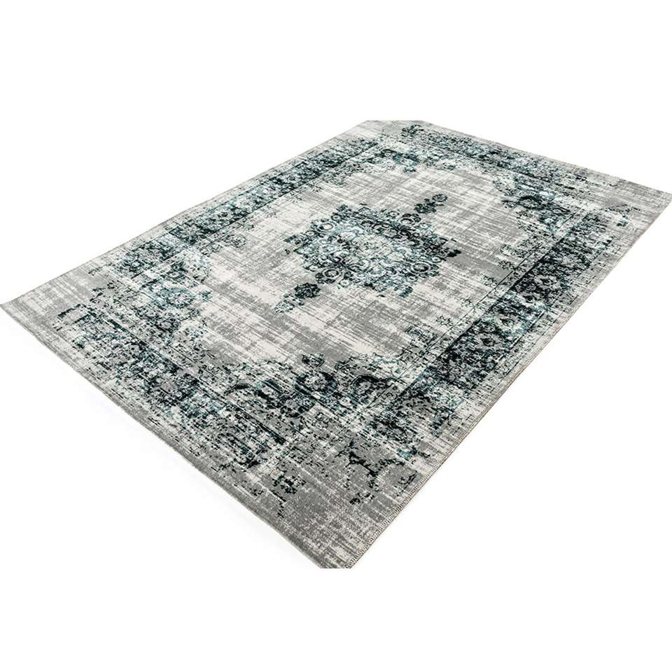 Home Living vloerkleed Classic - antraciet/blauw - 75x150 cm - Leen Bakker