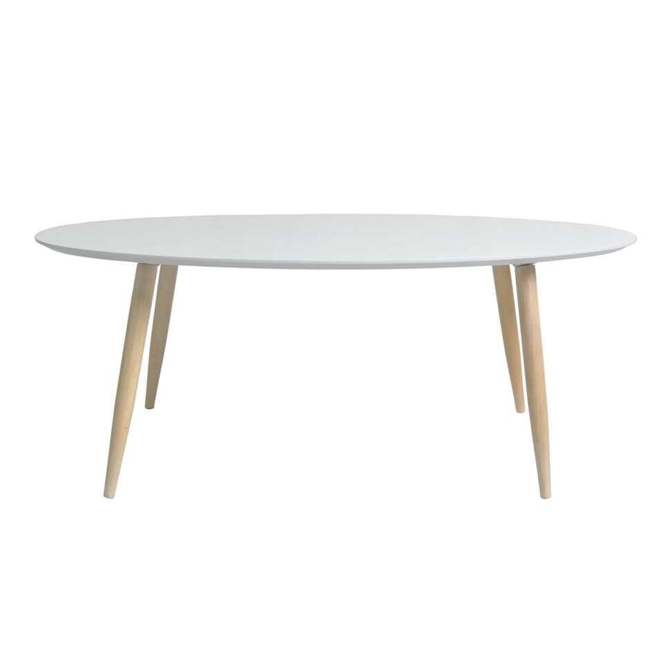 Salontafel Manon is een moderne tafel met een trendy look. Hij heeft een strak en tijdloos design. Deze tafel is wit van kleur en heeft ranke, eikenkleurige pootjes.