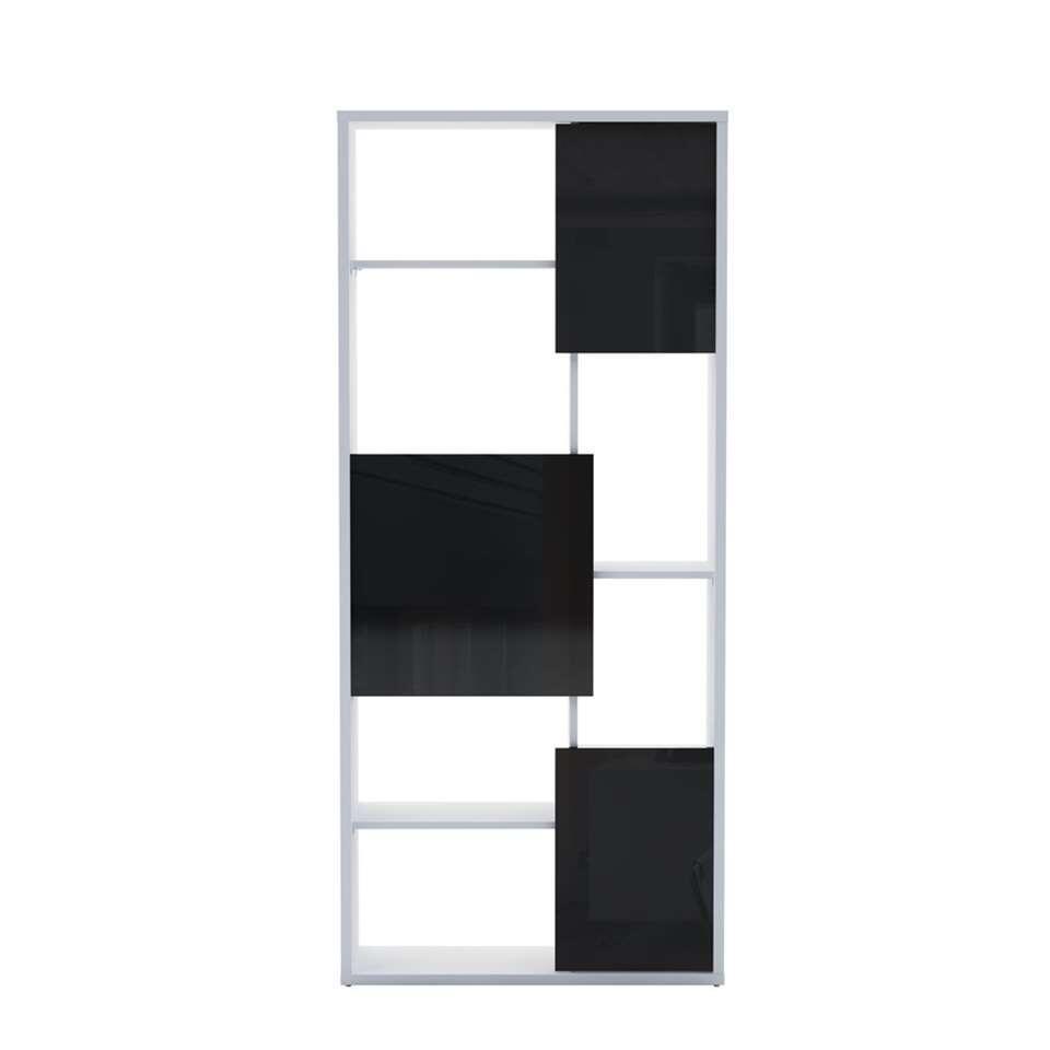 Demeyere boekenkast Trend - wit/zwart - 29x79x180 cm - Leen Bakker
