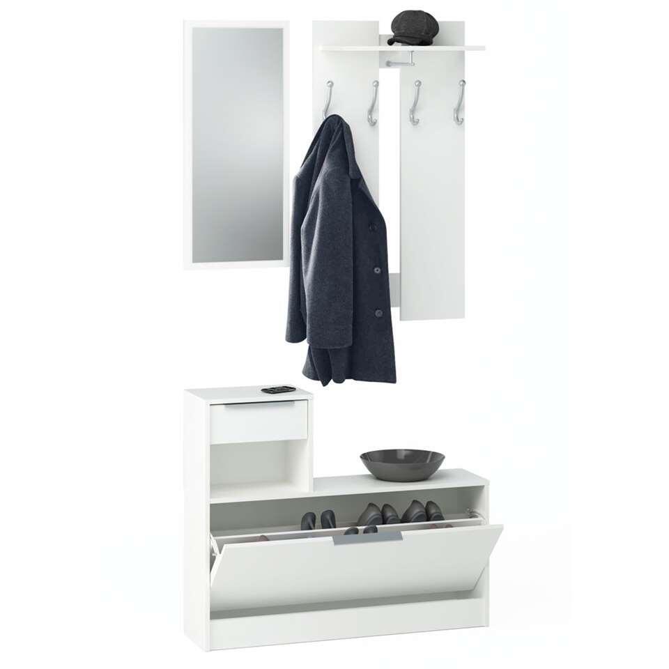 Kapstok Carson is gemaakt van spaanplaat en is stijlvol wit van kleur. De kapstok heeft een kastje met lade voor het opbergen van losse spullen, een spiegel, een plankje voor hoeden en petten en vier haakjes voor het ophangen van