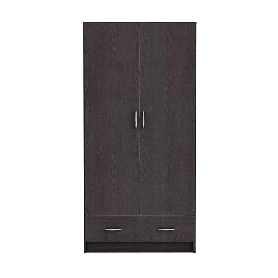Demeyere kleerkast Cobi - donker hout - 37,6x81,2x167 cm - Leen Bakker