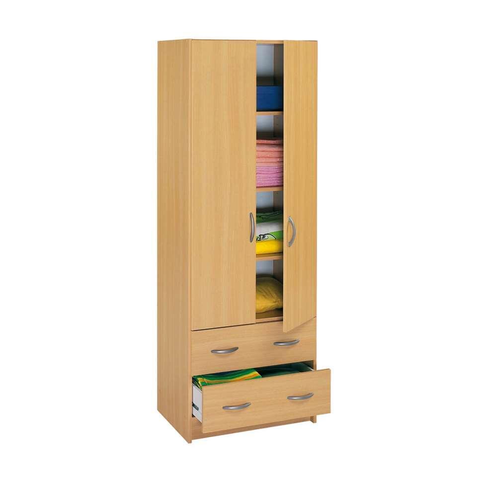 Demeyere kleerkast Cobi - 2-deurs/2 lades - beukenkleur - 41,1x60,9x169,5 cm - Leen Bakker