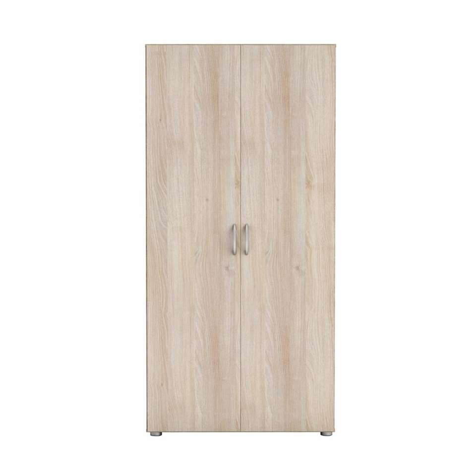 Demeyere kleerkast Zip 2 - acaciakleur/wit - 51,5x80,4x166,6 cm - Leen Bakker