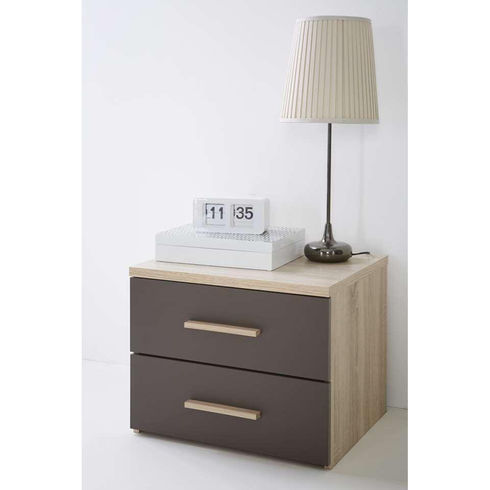 Demeyere nachtkastje Selena - 2 lades - licht/donker eikenkleur - Leen Bakker