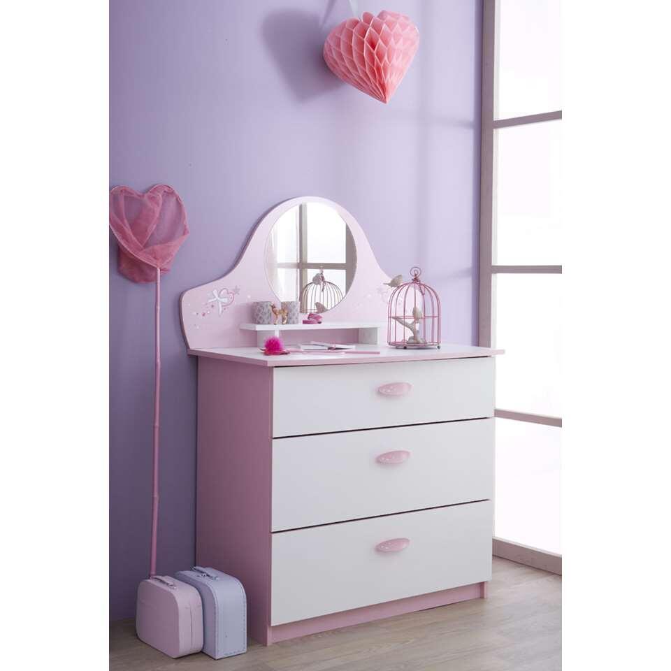Demeyere ladekast Papillon 3 lades - roze/wit - 97,2x84,7x50,1 cm - Leen Bakker