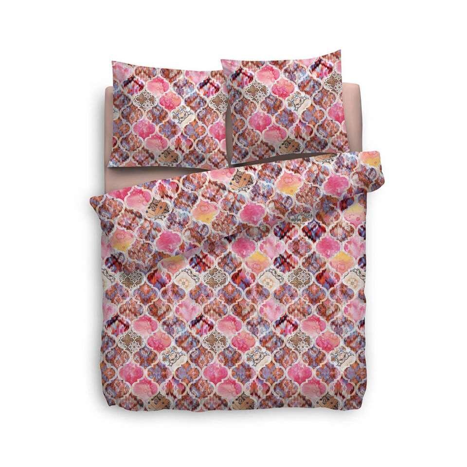 Heckett & Lane dekbedovertrek Rachela - roze - 260x220 cm - Leen Bakker