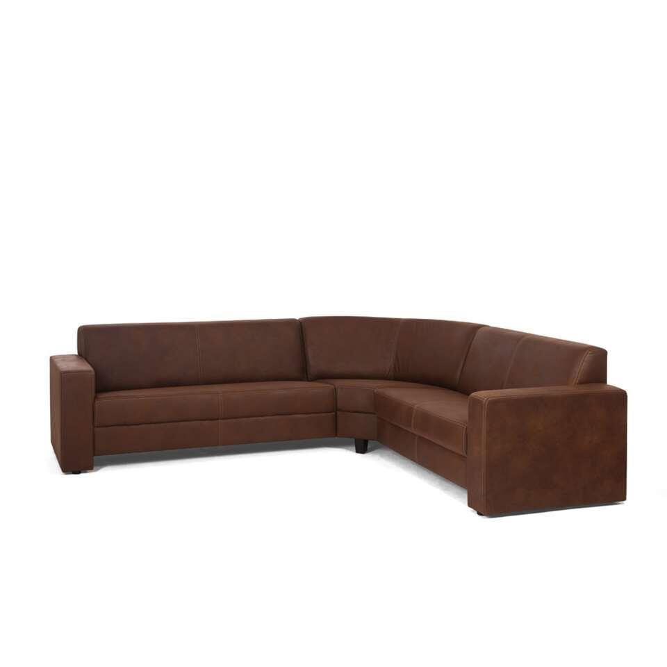 Canapé d'angle Pisa 2,5 + 2 places avec angle à gauche - brun