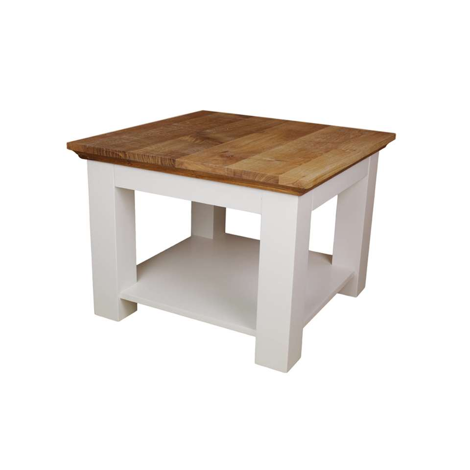 HSM Collection salontafel Provence - naturel eiken/wit - 60x60x45 cm