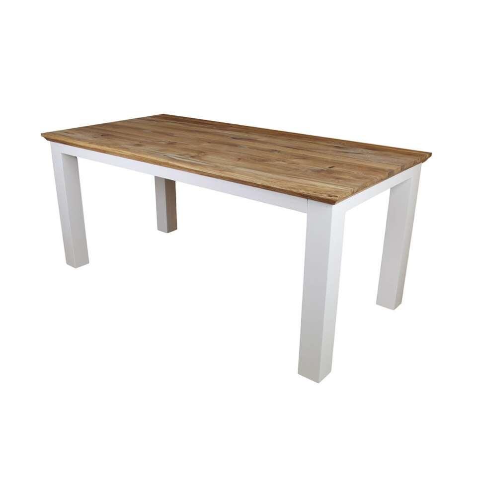 HSM Collection eettafel Provence - naturel eiken/wit - 180x90 cm - Leen Bakker